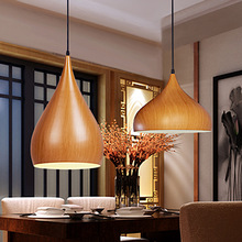 Classical Chinese Restaurant Bar Cafe Loft Industrial Chandelier Original Wood color Single Head pendent lamp E27 A183
