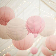 24-Pack White Pastel Pink Wedding Paper Lantern Lampshade Birthday Baby Shower Party Garden Home Festival Holiday Decoration(China)