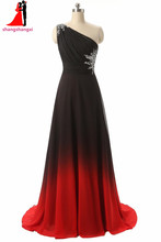 Gradient Long Evening Dresses 2017 One Shoulder A Line Plus Size Pregnant Party Formal Dress Vestidos De Festa Robe De Soiree