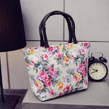 New waterproof women print handbag portable flower print shoulder bag fashion shopping bag travel canvas tote bag