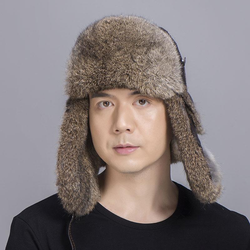 brown rabbit fur sheepskin hat 4