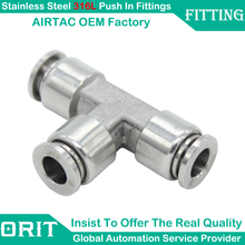 5Pcs/Lot Equal Tube OD 6mm Pneumatic Connectors Stainless Steel Air Push In Branch Tee Type One Touch Fittings AISI 316L New(China)