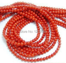 1 Strand Dull Red (Dyed) Natural Coral Gems 4mm Round Shaped Beads 4B181