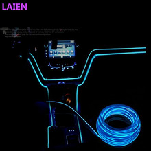 Universal 2.3 mm 3M 10 Colors Car Styling Flexible Neon Light EL Wire Rope Car Decoration Strip with Controller Free shipping(China)