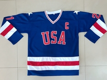 Blue Hockey Jersey Vintage 1980 Miracle On Ice Team USA Mike Eruzione 21 Hockey Jersey All stitched