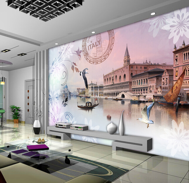 Custom  Italian Wallpapers, the Venice City Government House Church for living room bedroom TV background wall papel de parede<br>