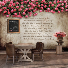 Custom Cafe bridal 3D wallpaper the living room TV background 3D wallpaper murals nostalgic roses