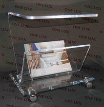 Rolling Acrylic magazine side table Cart,Lucite coffee table on wheels ONE LUX