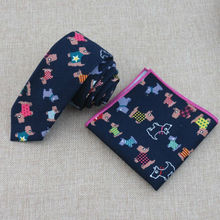 Tie pocket cloth color dog pattern Stylish new navy skinny necktie supporting high-quality goods small squares(China)