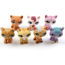 LPS Action Figure cat Toy White Purple Yellow Brown Sparkle Short Hair Cat Kitty Collection Loose Figure Child Toy(China)
