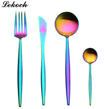 4 PCS/Set Rainbow Silverware New Arrival Stainless Steel Cutlery Set Dinnerware Set Colorful Creative Dinner Set Christmas Gift(China)