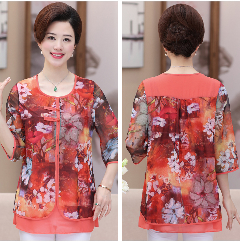 WAEOLSA Chinese Style Woman Ethnical Chiffon Blouses Gray Blue Red Green Flower Layered Tops Women Oriental Boon Design Blouse Lady Crepe Tunic (13)