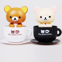Solar Energy Dancing Toys Rilakkuma Solar Toy Bobble Head Cup Figure Car Styling Decoration Cute Model Gift For Fans And Friends(China)