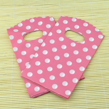 Wholesale 100pcs/lot Small White Round Dot Pink Plastic Bag 9x15cm Shopping Jewelry Packaging Plastic Gift Bags With Handle