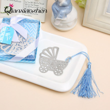 10pcs Blue/Pink Baby Carriage Bookmark Wedding Favors And Gifts Birthday Party Favors Baby Shower Favor Gifts Girl Boy Supplies(China)