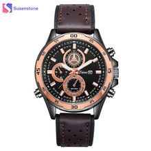 Luxury Men Leather Band Date Day Watch Analog Quartz Rose Gold Steel Alloy Dial Sport Watches Man Military Army Wristwatch reloj(China)