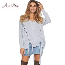 ArtSu Women Loose Lace Up Basic Sweater 2017 Autumn Winter Knitted Sweaters Pullover Long Sleeve Jumpers Pull Femme ASSW30023