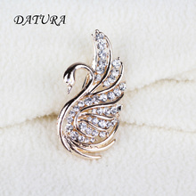 2 color Europe and the United States jewelry fashion Lovely Crystal Swan Leopard exaggerated jewelry Brooch Pins For Women