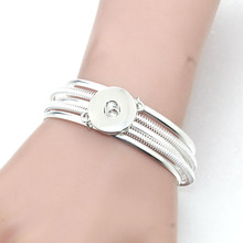 18MM Snap Button Women Metal Bangle Elasticity Bracelet Retro Silver Color Bohemia Charms Bangles Cuff Jewelry 9554