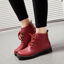 2017 New Fashion Autumn and Winter Tide Women Boots England Style PU Martin Boots Woman Flat Shoes Factory Wholesale(China)