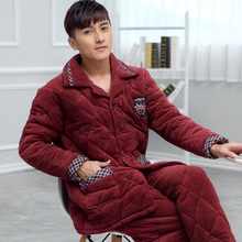 Warm Winter Men's Pijamas Casual Pajamas Thicken Warm Flannel Turn-gdown Collar Full Sleeve Men Pajamas Sets(China)