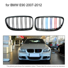 Pair of Gloss Black M-color Car Front Grille Grilles with Double Line for BMW E90 2007-2012