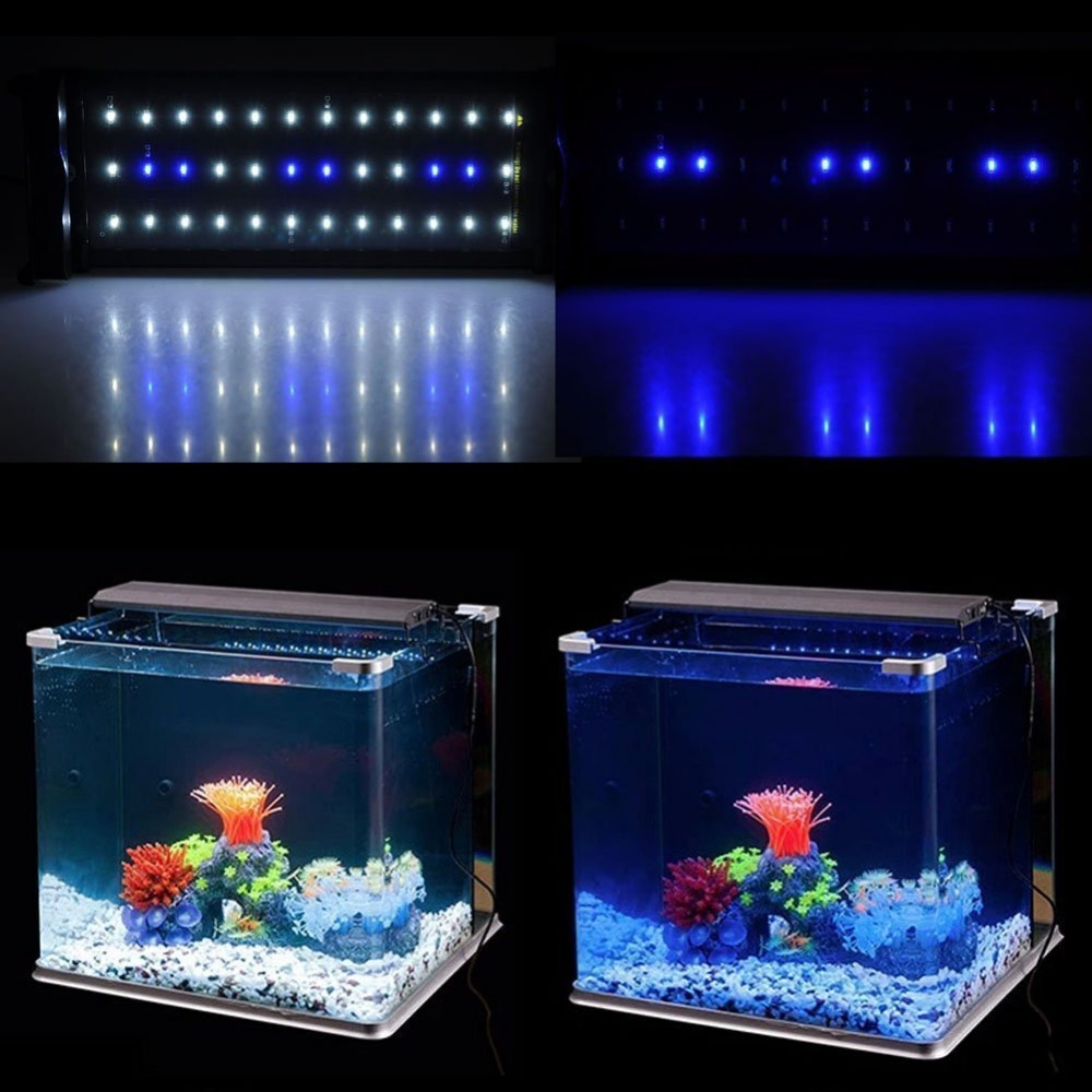 LED Aquarium Light Fish Tank Light with Extendable Brackets White and Blue LEDs for 12-18inch Fish Tank Extendable Light 36LEDS<br><br>Aliexpress