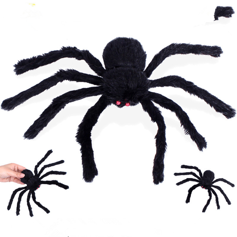 halloween decoration horror black spider haunted house spider web bar party decoration supplies simulation plush tricky toy  (6)