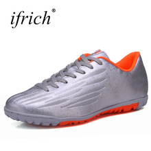 Ifrich New Men Boys Soccer Shoes for Artificial Turf Cleats Pu Leather Sport Football Trainers Cheap Children Soccer Cleats(China)