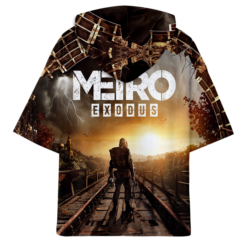 aikooki 3d medrto exodus oversized cool hoodie korean mens T-shirts girls 100% cotton Short Sleeves Tee print with hat xxxl