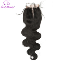 Trendy Beauty Hair Brazilian Body Wave Lace Closure Non-remy human hair 4*4 natural black color free shipping middle part