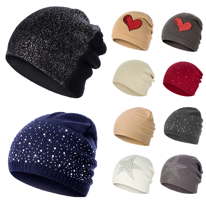 Fashion Rhinestone Glitter Hats Women Winter Knitted Caps Soft Beanie Hat Hat Female Cotton Cap Girls Skullies Beanies(China)