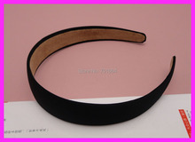 "10PCS 25mm 1.0"" Black Satin Fabric Covered Plain Plastic Hair Headbands with velvet back,women wrapped hairbands wholesales(China)"