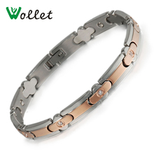 Wollet Jewelry Women Healing Energy Luxury Crystal Germanium Hematite Stainless Steel Magnetic Bracelet for Women Chain Link