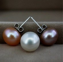 3 COLORS!!! Wholesale Fashion 9-10mm Big Size Freshwater Pearl Stud Earrings Jewelry Girls' Jewellery 12 pairs/lot(China)