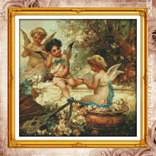 Joy Sunday Chinese cross stitch kits Cherubs angel garden DMC14CT11CT cotton fabric hotel home deco painting factory wholesale(China)