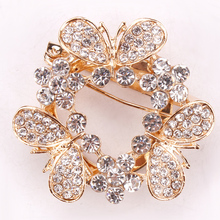 Pave Clear Rhinestones Numerous Butterfly Scarf Clips or Brooch Pins for Women in gold Color