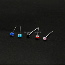 1.8mm  20 pieces/box  925 sterling silver nose piercing colorful nose studs