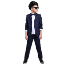 big boy clothes sets 2017 new pring kids clothes long sleeve plaid boy blazer jacket+pants boys formal dress wedding boys suits
