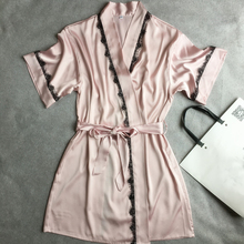Pink Mid-Sleeve Sexy Women's Robe Dress Gown Hot Sale Bathrobes 2017 Summer Style Female Satin Nightgown Lace Sleepwear(China)