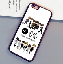 Cartoon Exo Kpop Band  popular star Mobile Phone Cases Bags For iPhone 6 6S Plus 7 7 Plus 5 5S 5C SE 4S Soft Rubber Back Cover