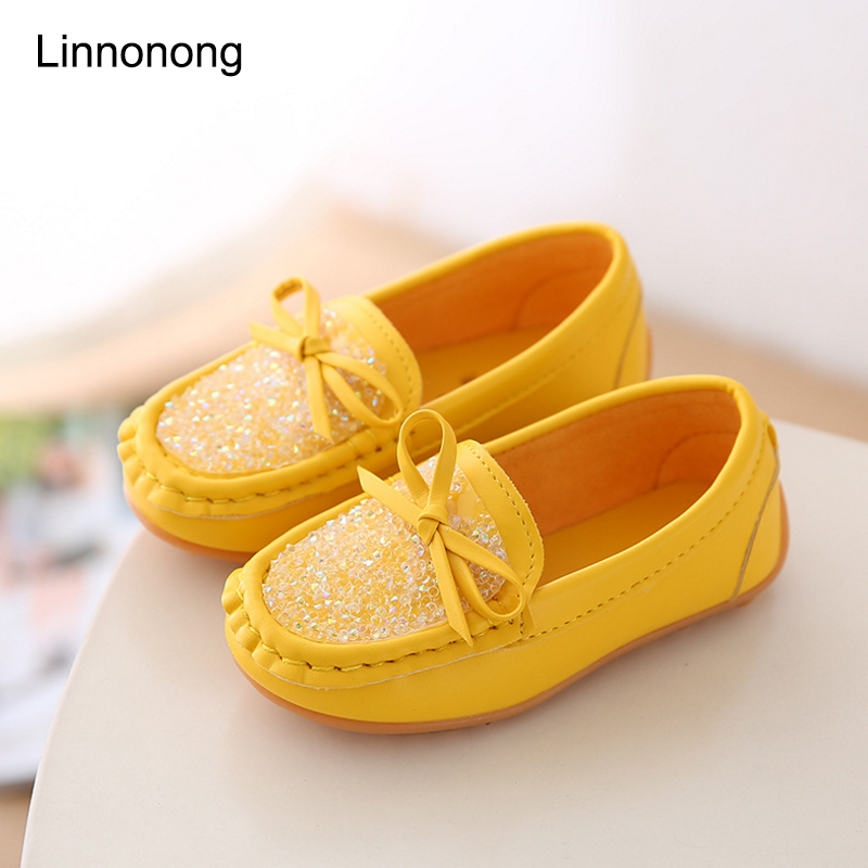 New Spring Cute Princess Shoes Kids Shoes Children Soft Leather Flats Loafer School Girl Casual Sneakers Girls Footwear