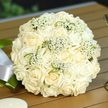 Beautiful 8 Colors Handmade Flowers Decorative Artificial Rose Flowers Pearls Bridal Bouquets Wedding Bouquets with Ribbon