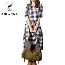 dresses . Spring new models Women / Girls College Wind retro loose cotton long-sleeved plaid dress / autumn dress(China)