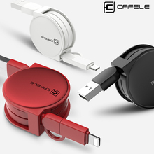 CAFELE 100cm 2 in 1 Retractable USB Fast Charging Cable 8 Pin for iPhone 5s 6s 7 Plus with Micro USB Cable(China)