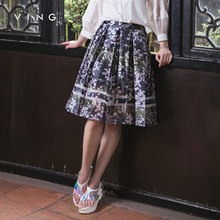 Ving 2017 Women New Arrival A-line Skirt Print Floral Medium Skirt Patchwork Slim Pleated Casual Women Skirt(China)