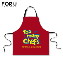 FORUDESIGNS Red Blue Men Chef Kitchen Aprons Novelty Designs Woman Men Cooking Work BBQ Funny Apron for Hairdresser Chef Gifts