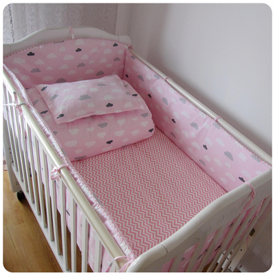 5 pcs pink color bedding Baby Crib Bumper Kids baby crib bedding set  100% cotton girl bedding bumpers cot  bed protector<br>