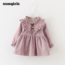 xunqicls Autumn Spring Princess Baby Girls Dress  Kids Long Sleeved V-shaped Top Dresses Corduroy Toddler Girl Clothing