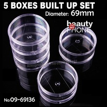 5 BOX BUILT UP SET,clear round accessory box storage for diy home work nail art jewelry beads crafts rganizer container case
